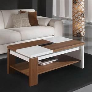 Table Basse Blanc Bois : table basse relevable plateau bois et blanc mobilier et d co ~ Teatrodelosmanantiales.com Idées de Décoration