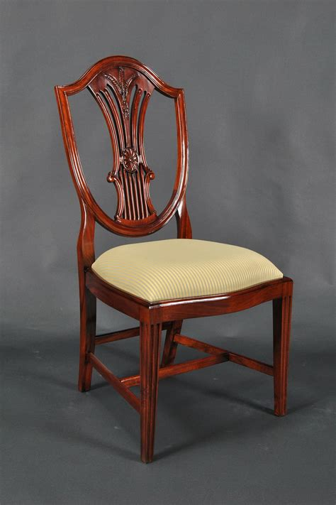 Back Chair by Solid Mahogany Shield Back Chairs