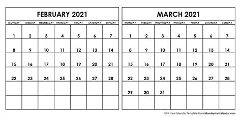 Monthly calendar for the month february in year 2021. February And March 2021 Calendar   printablecalendarr.com