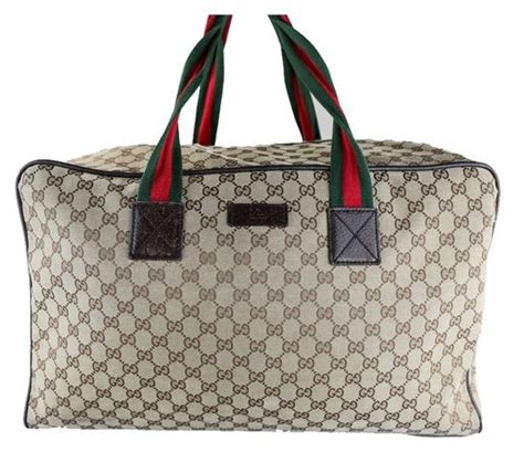 gucci monogram gg canvas large duffle brown travel bag