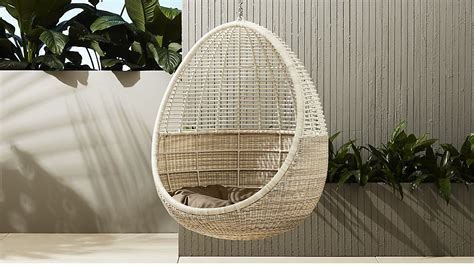 shoptagr pod hanging chair with cushion by crate barrel
