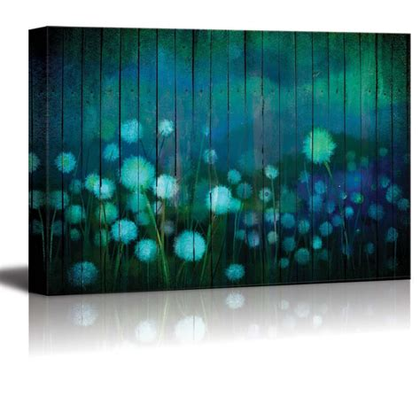"""415 likes · 2 talking about this. wall26 - Dandelions Over Teal Wooden Panels - Canvas Art Wall Decor - 24""""x36"""" - Walmart.com"""