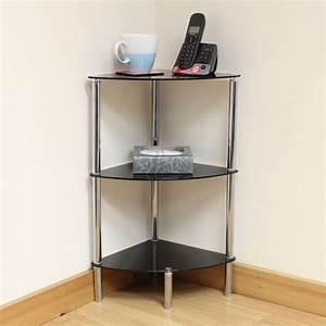 Hartleys, 3, Tier, Black, Glass, Corner, Side, End, Table, Shelf, Display, Unit, Lounge, Hall