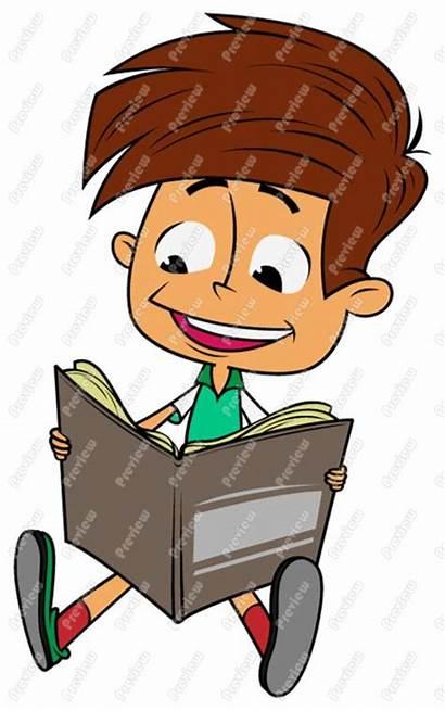 Reading Boy Clipart Clip Child Cartoon Books