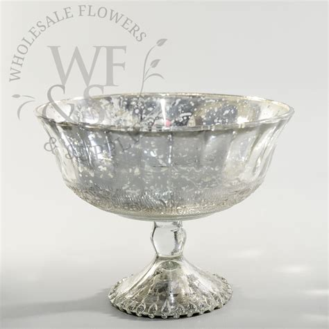 Vases Bowls by Glass Pedestal Bowl Silver Wholesale Flowers And Supplies