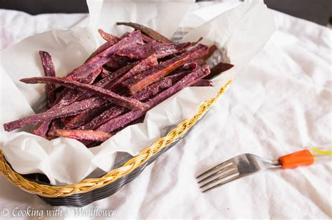 how to cook purple yam in the oven baked maple purple yam fries cooking with a wallflower