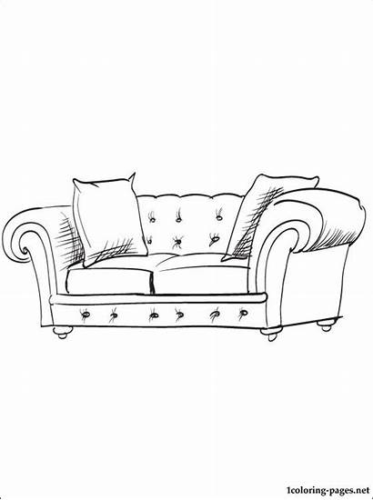 Sofa Coloring Pages Furniture Printable Parents Fond