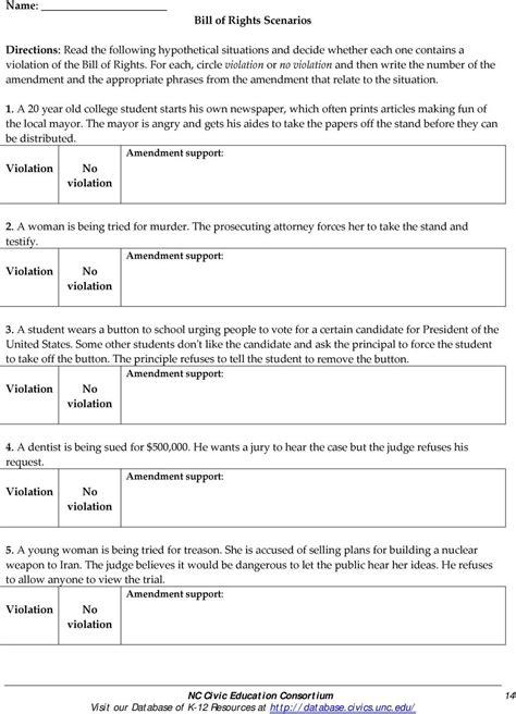 bill  rights scenarios worksheet answer key db excelcom