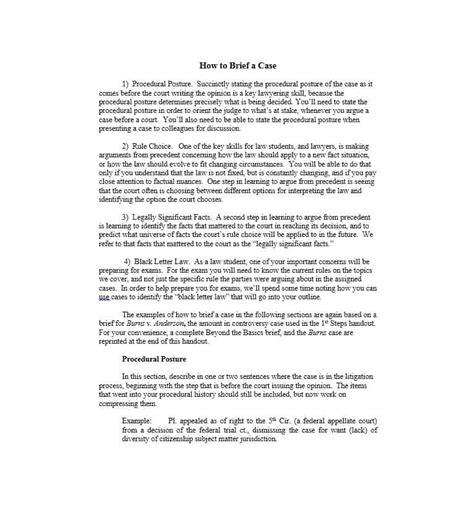 law school case brief 40 brief exles templates template lab