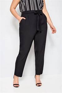 Plus Size Black Crepe Tapered Trousers