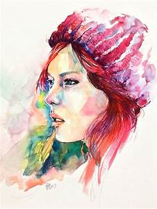 watercolor portrait, red hat girl by young920 on DeviantArt