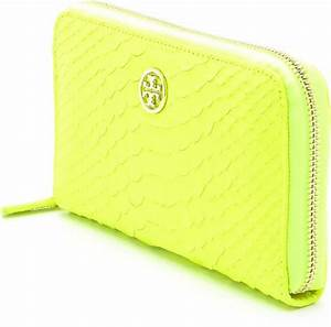 Tory Burch Neon Snake Zip Continental Wallet in Yellow