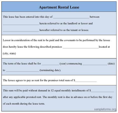 apartment lease apartment rental lease agreement templates sle rental agreement tunnelvisie kidscareer info