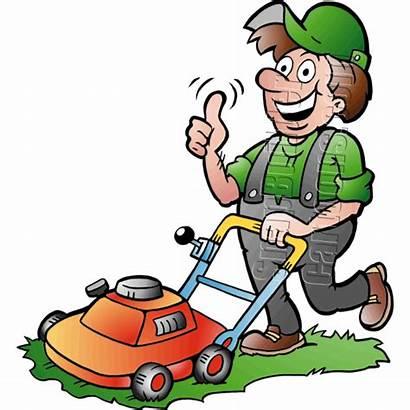 Gardener Mower Handyman Clipart Push Mowing Transparent