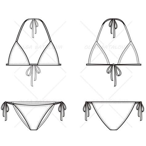 womens triangle bikini fashion flat template
