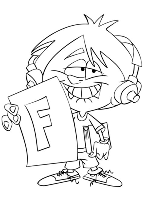 child holding  report card  big  coloring page