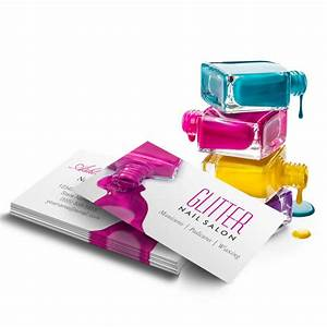 Glitter nail salon manicure pink beauty stylish business for Manicure business cards