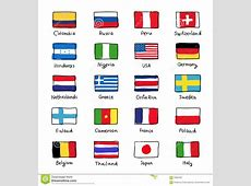 Icons Of Flags Of Different Countries Cartoon Vector