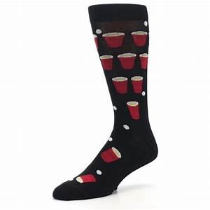 Black Red Beer Pong Men's Dress Socks K Bell Socks