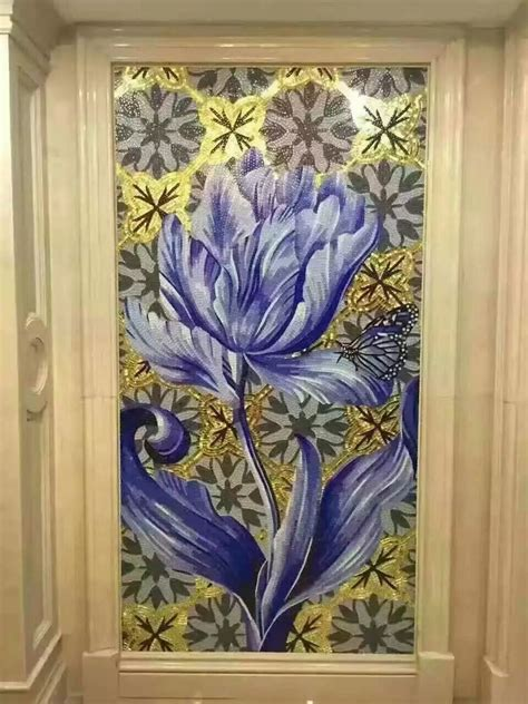 hand  flower tile crystal glass mosaic tile wall