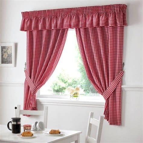 gingham check red white kitchen curtains drapes    tiebacks included ebay