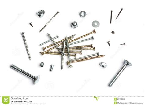 Nails, Screws, Nuts And Bolts Stock Photo