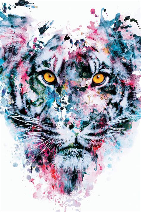 Tiger Blue Canvas Wall Art Riza Peker Icanvas