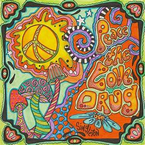 Peace the love drug Singleton Hippie Art The Print