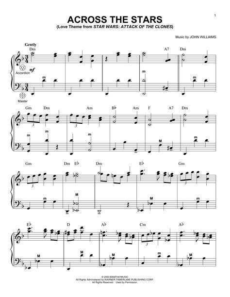 across the stars sheet music direct