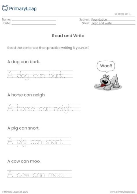 read write  kids practise reading  sentences