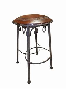 2 Simple Iron Tooled Leather Barstools In Antique Brown