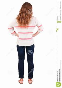 Back View Of Standing Young Beautiful Redhead Woman Stock