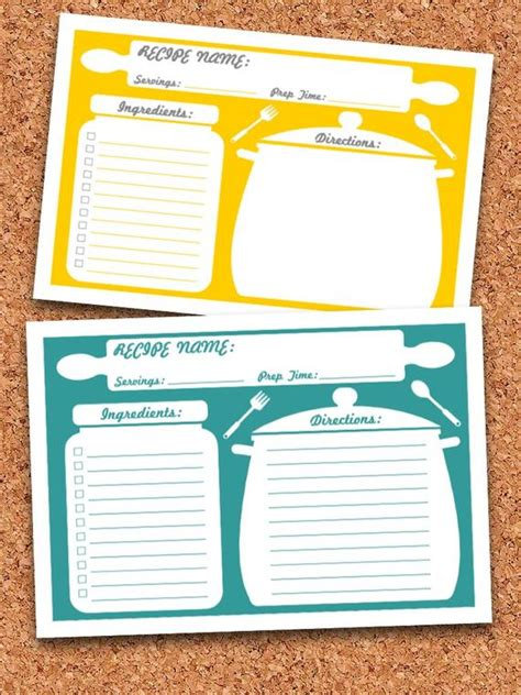 recipe cards printable editable instant
