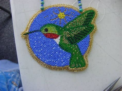 beaded hummingbird medallion beaded embroidery beadwork