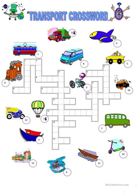 transport crossword worksheet  esl printable
