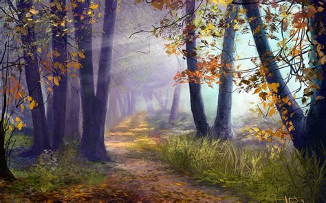 light on the path artistic art paintings path trail leaves nature landscapes