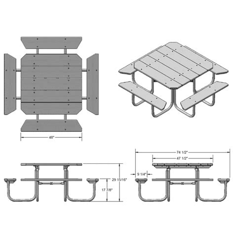 Picnic Bench Dimensions by Ultraplay 48 Quot Square Traditional Picnic Table Pressure
