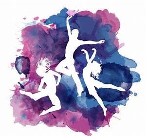舞蹈人物剪影与墨迹矢量图_潮流设计_三联