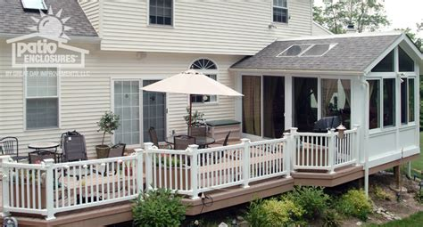 enclosed patio with stairs designs sunroom with deck and