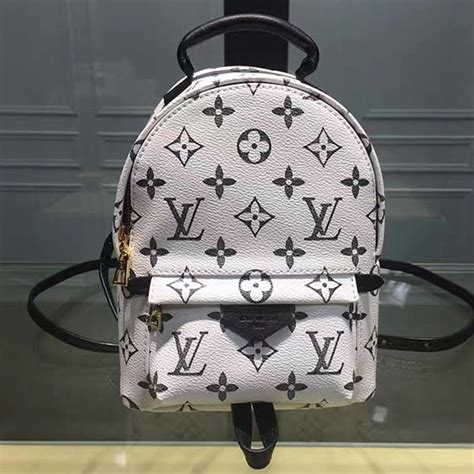 louis vuitton monogram canvas palm springs backpack mini white