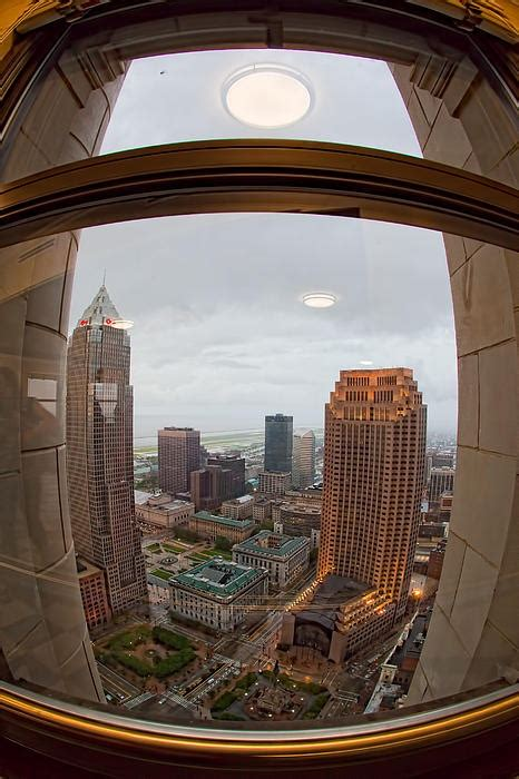 fisheye view of cleveland from terminal tower observation deck print