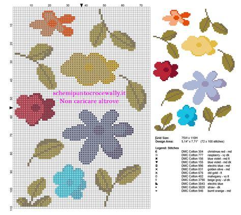 schemi punto croce fiori piccoli semplici piccoli fiori fiorellini colorati schemi punto