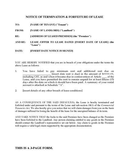 termination of assignment of leases and rents form ontario notice of termination and forfeiture of lease