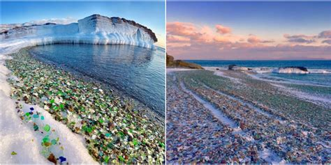 visitors marvel at russian glass beach sea glass beaches