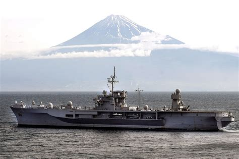 Military Photos Uss Blue Ridge And Mount Fuji