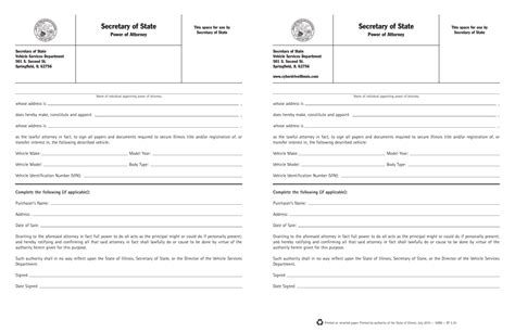 blank power of attorney form illinois free illinois motor vehicle power of attorney form pdf