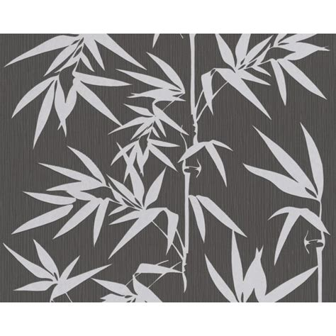contemporary silver bamboo  black textured wallpaper