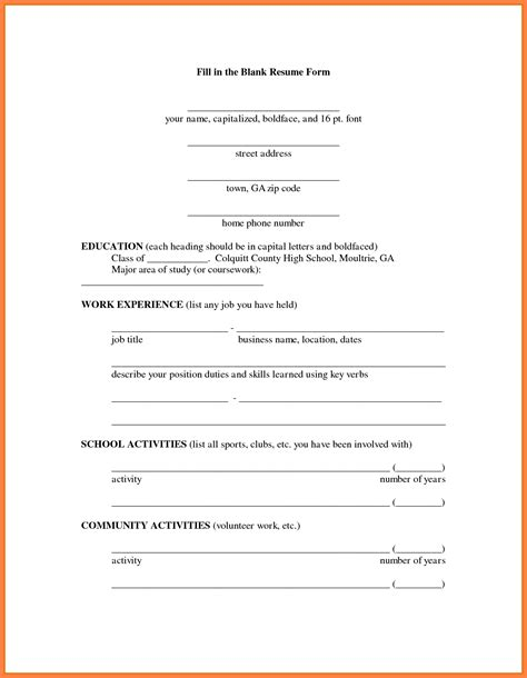 Application Resume For by 13 Blank Resume Form For Application Bussines 2017