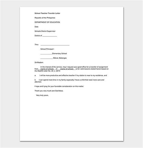 school transfer letter   write format sample letters