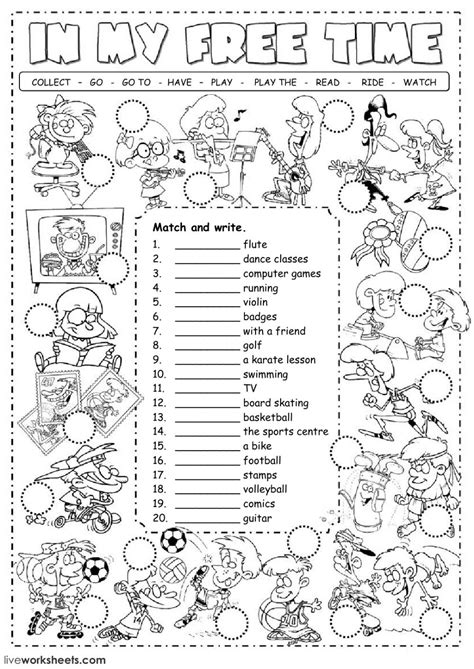 free time activities interactive worksheet
